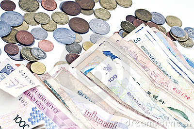 Coins and banknote from different countries