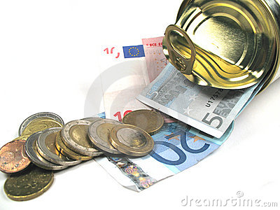 Coins and banknotes in a tin