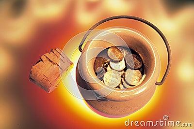 Coins in Ceramic Jar
