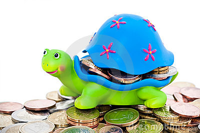Coins and colorful turtle