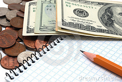 Coins, dollar bills, notebook and pencil.