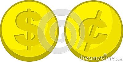 Coins Dollar Cent Symbol