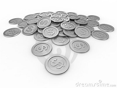 Coins with dollar sign, money