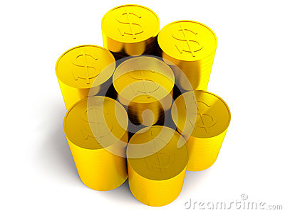 Coins with dollar sign on white background