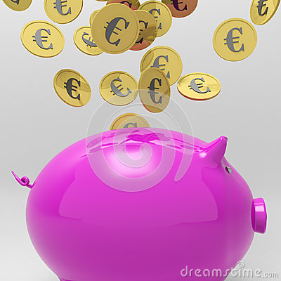 Coins Entering Piggybank Showing European Loan