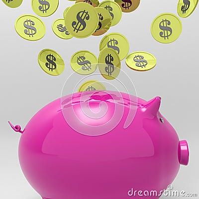 Coins Entering Piggybank Shows Money Saving