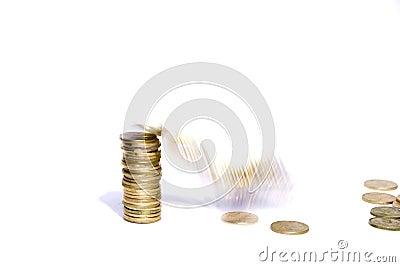 Coins fall