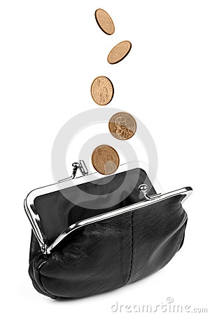 Coins Falling into Change Purse