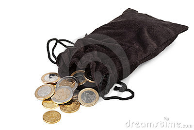 Coins falling out of sack isolated