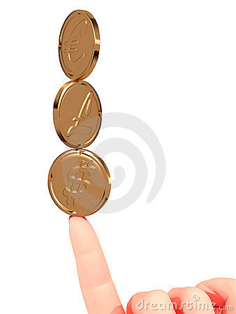 Coins and fingers