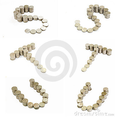 Coins font; S,T,U