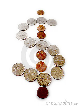 Coins in form of Dollar Sign