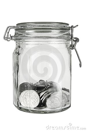 Coins in Glass Jar