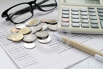 Coins Glasses Calculator And Pen On Savings Account Passbook – Savings Account Calculator