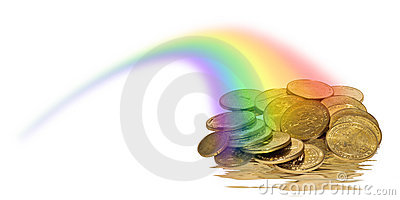 Coins of Gold in a rainbow