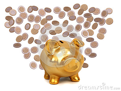 Coins and golden piggybank