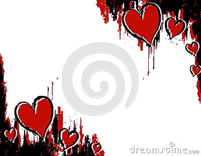 Coins grunges de coeur de sang d encre