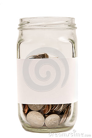 Coins In Jar With Blank Label XXXL