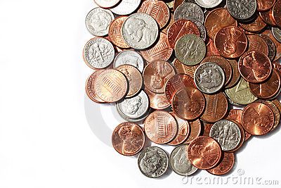 Coins, nickels and dimes