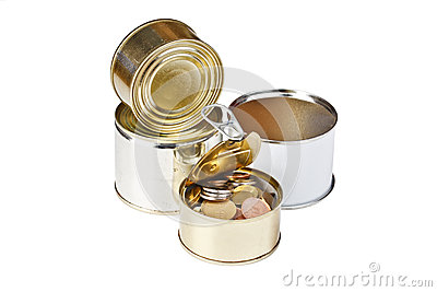 Coins in open tin can