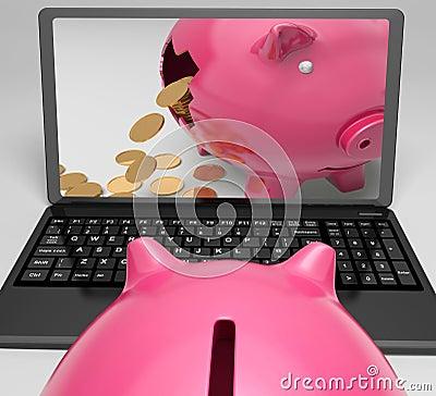 Coins Piggy Laptop Shows Banking Financial Success