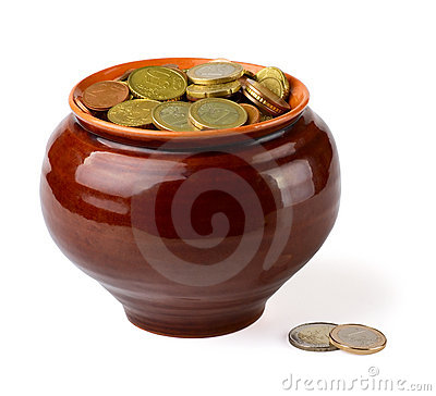 Coins in pot