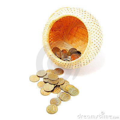 Coins poured out of basket