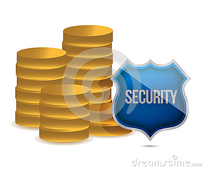Coins shield security concept illustration