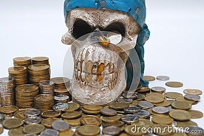 Coins & skull