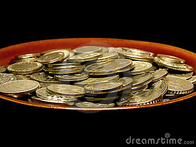 Coins in soup plate
