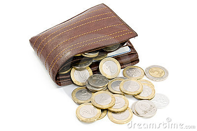 Coins spilling out of  wallet