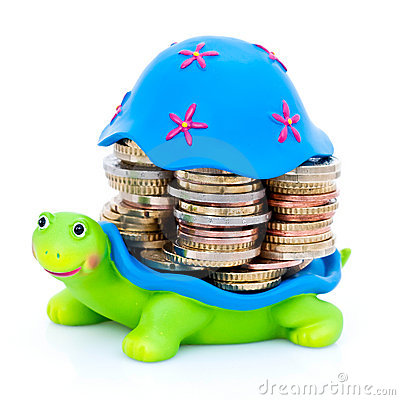 Coins stacked on turtle
