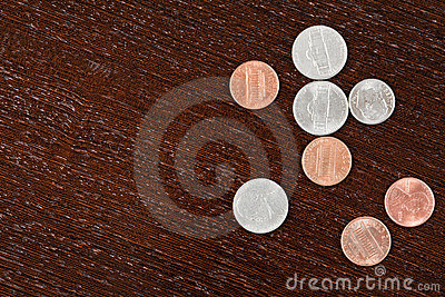Coins on table