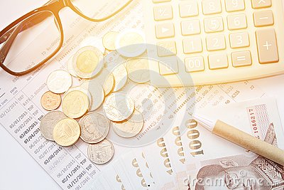 Coins Thai Money Pen Calculator Glasses And Savings Account – Savings Account Calculator