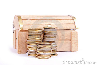 Coins and treasure chest