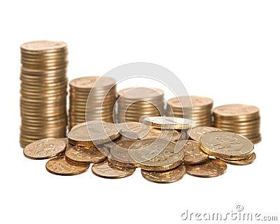 Coins on white