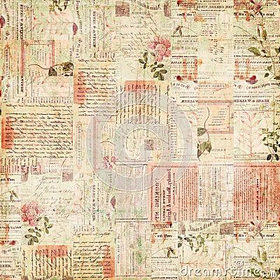 Coisas efêmeras do vintage, texto e colagem de papel das flores