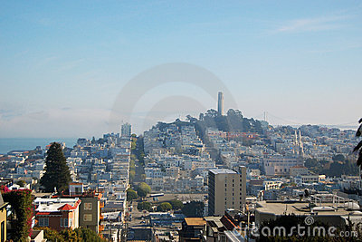 Coit Tower and City Skyline of San Francisco