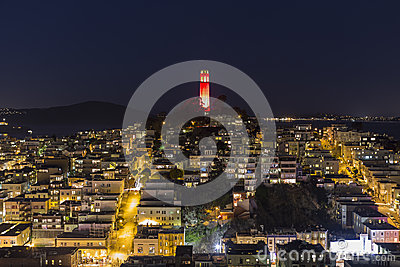 Coit Tower Night San Francisco Editorial Photo