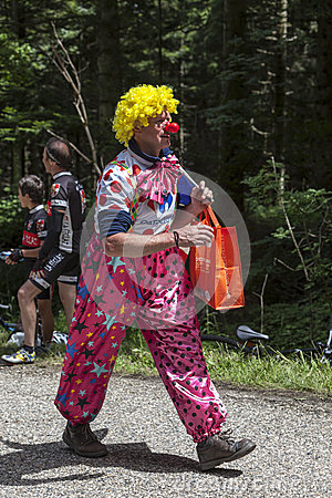 Funny Character on the Road of Le Tour de France Editorial Photo