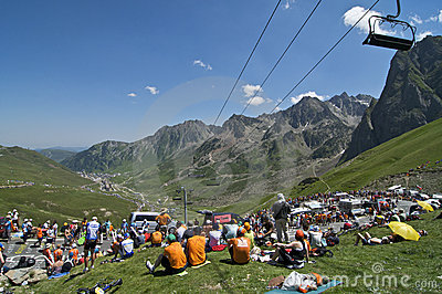 Col du Tourmalet Crowd Editorial Stock Photo
