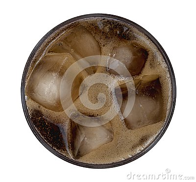 Free Cola Bubbles With Ice Cubes In Glass Top View Isolated On White Background, Path Royalty Free Stock Images - 108322349