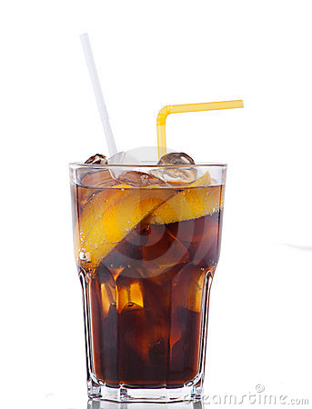 Cola drink with ice and yellow lemon on white