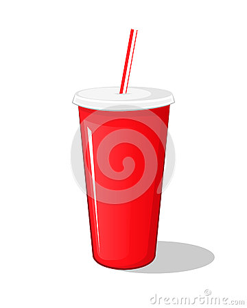 Free Cola Drink In A Red Plastic Pot Cardboard Cup With Chopsticks Isolated Stock Photo - 89537380