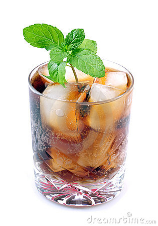 Cola drink with mint