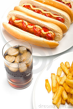 Free Cola, French Fries, And Three Hotdogs Stock Images - 7791204