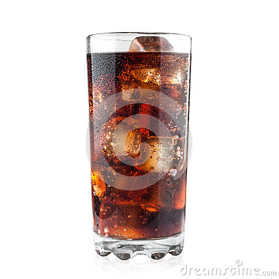 Free Cola In Glass And Ice Cubes Isolated On White Background Including Clipping Path Stock Photography - 98414412