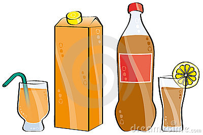 Cola and orange juice