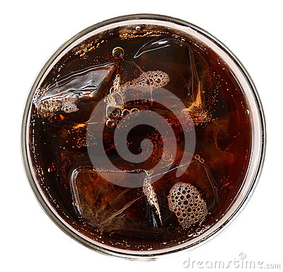 Free Cola With Ice Cubes In Glass Top View Isolated On White Backgrou Royalty Free Stock Photography - 87054957