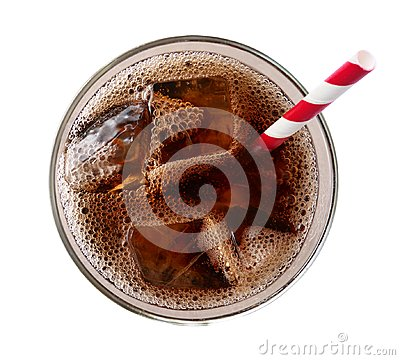 Free Cola With Ice Cubes In Glass Top View Isolated On White Background, Path Royalty Free Stock Photo - 116181165